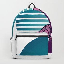 Vaporwave Geometric Wolf Design Retro 80s background Backpack