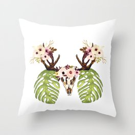 Exotic Tropical Floral Leaves Skull Antlers Throw Pillow