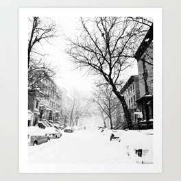 New York City At Snow Time Black and White Art Print