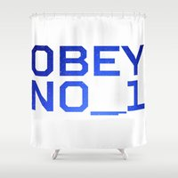 obey Shower Curtains featuring OBEY NO_1 by Nicolas Hornyak