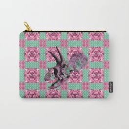 Pink and Green Dinosaur Skull Pattern Quilt Carry-All Pouch
