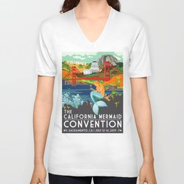 Simple Logo ·•· California Mermaid Convention Unisex V-Neck