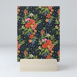 Warm Coral Maximalist Leopard Print Floral Mini Art Print