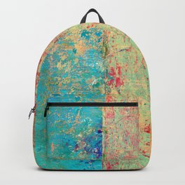Brilliant Encounter, Abstract Art Turquoise Red Backpack