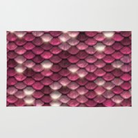 bisexual Area & Throw Rugs featuring Pink sparkling scales by UtArt