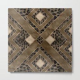 Leopard Fur Texture Geometric Pattern Metal Print