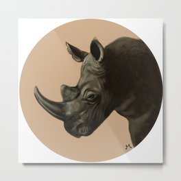 Round Rhino Metal Print