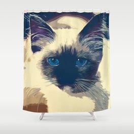 holy birma cat blue eyes vector art foggy night Shower Curtain