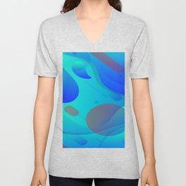 Purple Blue And Green Abstract Design Unisex V-Neck