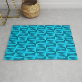 A vibrant grid of shaded rhombuses with intersecting blue diagonal lines and triangles. Rug