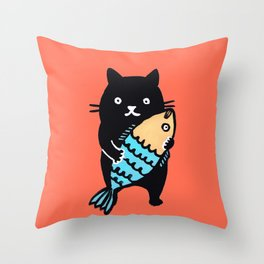 kitty with fish Throw Pillow