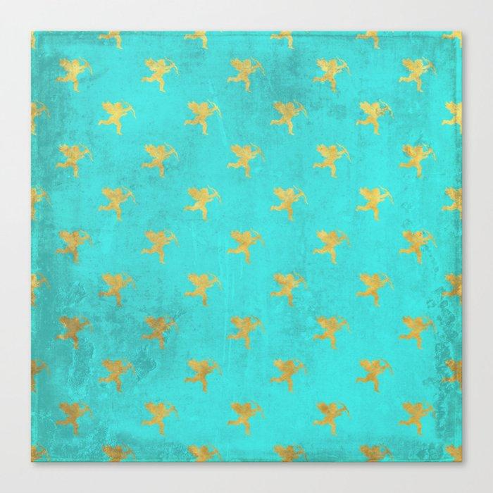 Gold Angels on aqua backround- pattern Canvas Print