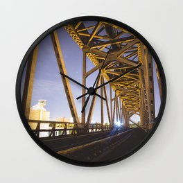 Old Lift Bridge at Night Wall Clock