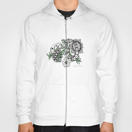Zentangle Design - Black, White and Sage Illustration Hoody