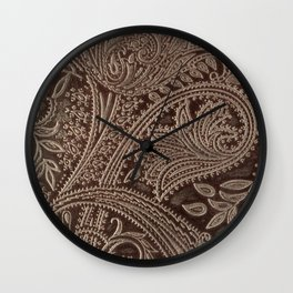 Cocoa Brown Tooled Leather Wall Clock