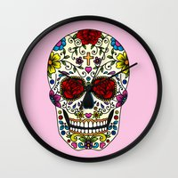 sugar skull Wall Clocks featuring Sugar Skull by Jade Boylan