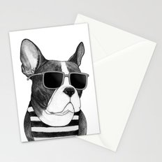 Frenchie Summer Style b&w Stationery Cards
