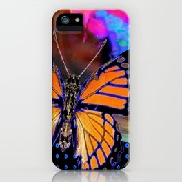 ORANGE MONARCH BUTTERFLY & SOAP BUBBLE IN BLUE OPTICAL ART iPhone Case