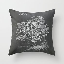 1918 C. J. Gustafson Motorcycle with Side Car Black Patent Version Throw Pillow