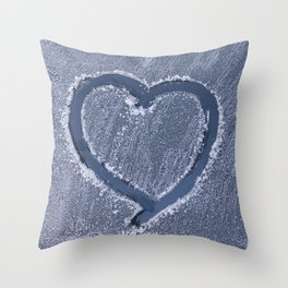 Winter Photography - Heart Carved In Snow Throw Pillow
