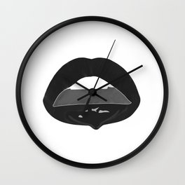 black dripping lips Wall Clock