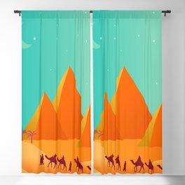 pyramid desert sand camel Blackout Curtain