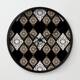 Rose-Gold and Metallic White Mandala Diamonds Textile Wall Clock