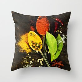 Bright spices on an old  wooden board Throw Pillow