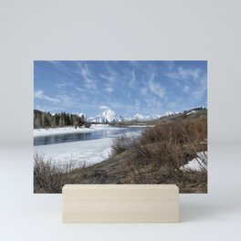 Grand Tetons from Oxbow Bend at a Distance Mini Art Print