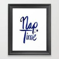 Nap Time | Lazy Sleep Typography Framed Art Print