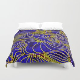 Curves in Yellow & Royal Blue Duvet Cover