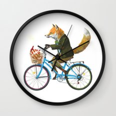 Fox goes to Tea (white) Wall Clock