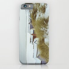 Sand dunes and beach huts in snow. Wells-next-the-sea. Slim Case iPhone 6s