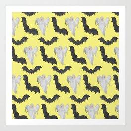 Scary Black White Yellow Halloween Bats Ghosts Pattern Art Print
