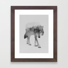 Wolf In The Woods (black & white version) Framed Art Print