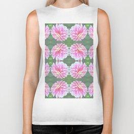 252 - Pink Flower Pattern Biker Tank