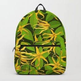 Ylang Ylang Exotic Scented Flowers and Leaves Pattern Backpack