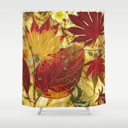 Fall Pressed Leaves Shower Curtain