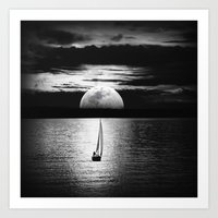 the moon Art Prints featuring Moon by haroulita