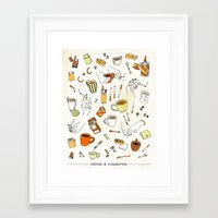 cigarettes Framed Art Prints featuring Coffee & Cigarettes by Kat J. Weiss
