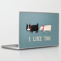gemma correll Laptop & iPad Skins featuring I Like You. by gemma correll