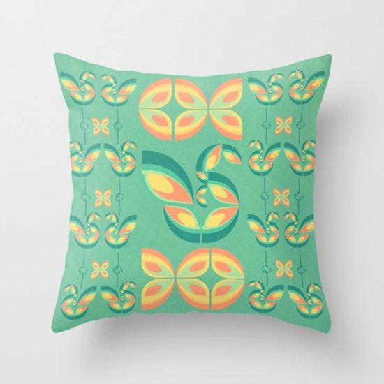 Peacocks and Butterflies Throw Pillow
