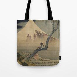 Boy Viewing Mount Fuji by Katsushika Hokusai Tote Bag