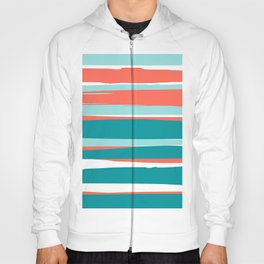 Colorful Stripes, Coral, Teal and Aqua Hoody
