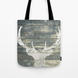 Rustic White Deer Silhouette Teal Wood A311 Tote Bag