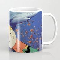aquaman Mugs featuring Aquaman Vs. Shark by Jen Talley