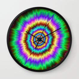 Color Explosion in Violet and Green Wall Clock