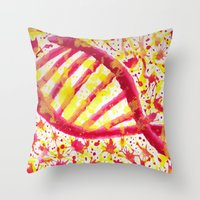 dna Throw Pillows featuring DNA by Eleacuareling