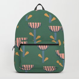 Folksy Floral Pattern in Green Backpack