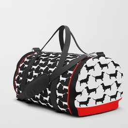Dachshund Silhouette Black and White Pattern Duffle Bag